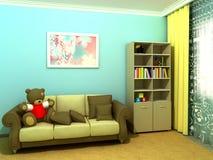 babyroombluechildroom royaltyfri foto
