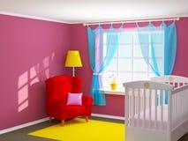 Babyruimte met leunstoel Stock Foto's