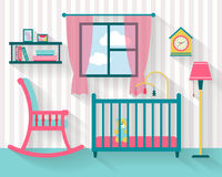 Babyruimte met meubilair Stock Foto's