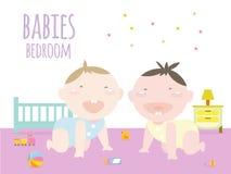 Babys die binnen babyslaapkamer kruipen Stock Foto's