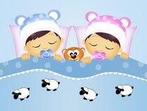 Babys die sheeps tellen Stock Foto
