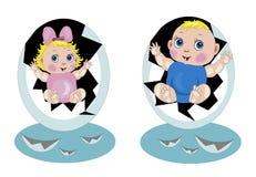 Babys die van eieren worden uitgebroed Royalty-vrije Stock Foto