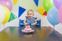 Babys första födelsedagparti Royaltyfri Foto