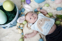 Babys första påsk Royaltyfria Bilder