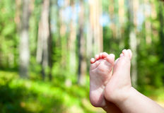 Babys feet outdoor Royalty Free Stock Photo