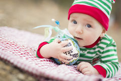 Babys First Christmas Ornament Infant Baby On Blanket With Royalty Free Stock Photography