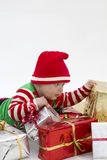 Babys First Christmas with Presents Royalty Free Stock Photos