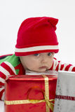 Babys First Christmas Serious Stock Image