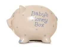 Babys first money box piggy bank Stock Images