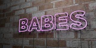 BABYS - Glühende Leuchtreklame auf Steinmetzarbeitwand - 3D übertrug freie Illustration der Abgabe auf Lager Stockbilder