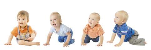 Babys gruppieren, kriechende Säuglingskinder, die lokalisierten Kleinkind-Kinder lizenzfreies stockfoto