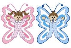 Babys in het beeldverhaal van vlinderkostuums Royalty-vrije Stock Afbeeldingen