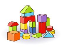 Babys letter cubes toys. Wooden or plastic color cubes. Vector. Castle Royalty Free Stock Image