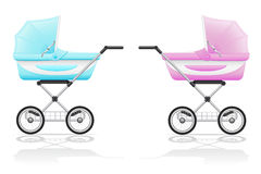 Babys perambulator pink and blue vector illustrati Royalty Free Stock Images