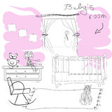 Babys  room. Hand draw   illustration Royalty Free Stock Images