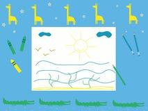 Babys skrivbords- barns tema för safari för illustration för vektor för teckning Royaltyfri Fotografi