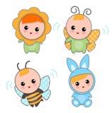 Babys van Dierlijke Kostuums Stock Afbeelding