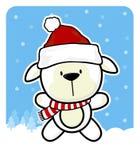 Babyschafe mit Weihnachtsmann-Rothut Lizenzfreies Stockbild