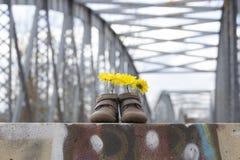 Babyschuhe mit gelben Blumen Lizenzfreies Stockbild