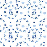 Babyseamless pattern with blue bows, hearts and teddy bears Royalty Free Stock Photos