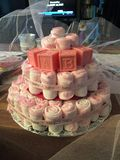 Babyshower. A pink babyshower cake from my girlfriends babyshowe royalty free stock photography