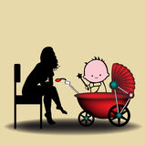 Babysitter royalty-vrije illustratie