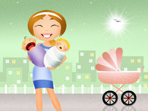 Babysitter with babies. Illustration of babysitter with babies Stock Photo