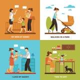 Babysitter Concept Icons Set Fotografie Stock