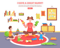 Babysitter Concept Illustration. Babysitter concept  with nanny children and toys in the room  flat vector illustration Stock Photos