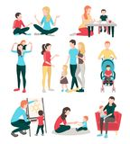 Babysitter Family People Set. Babysitters people flat images collection with  human characters of young family members children and nurses vector illustration Royalty Free Stock Photo