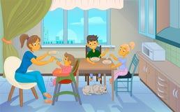Babysitter feeding kid in kitchen. Babysitter feeding kid in modern kitchen gartoon illustration Stock Image