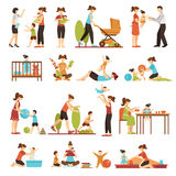 Babysitter Flat Set Of Decorative Colored Icons. With nanny parents and kids in various situations isolated vector illustration Stock Image