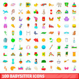 100 babysitter icons set, cartoon style. 100 babysitter icons set in cartoon style for any design illustration Royalty Free Stock Images