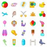 Babysitter icons set, cartoon style. Babysitter icons set. Cartoon set of 25 babysitter vector icons for web isolated on white background Stock Photo