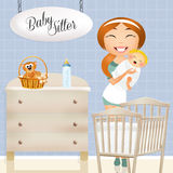 Babysitter. Illustration of babysitter with babies Royalty Free Stock Image