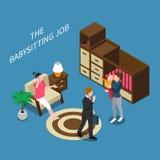 Babysitter Isometric Composition royalty-vrije illustratie