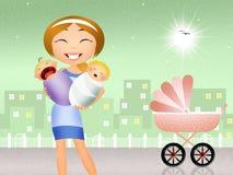 Babysitter met babys stock illustratie