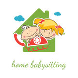 Babysitter vector concept with funny boy and girl Royalty Free Stock Photo
