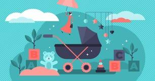Babysitter vectorillustratie Vlak uiterst klein de personenconcept van het kinderenkinderdagverblijf royalty-vrije illustratie