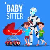 Babysitterrobot die met Kinderwagenvector gaan Geïsoleerdeo illustratie stock illustratie