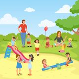 Babysitters With Kids Flat Composition Stock Image