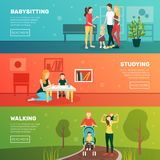Babysitting Children Banners Set. Babysitters people flat horizontal banners set with family human characters parents and children with read more button vector Stock Images