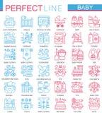Babysorgfaltspielwaren, Kinderfütterungskonzeptsymbole Perfekte Farbdünne Linie Ikonen Moderne lineare Artillustrationen eingeste Stockfoto