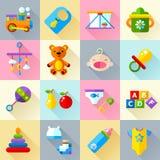 Babyspeelgoed en de reeks van het zorgpictogram Stock Afbeeldingen