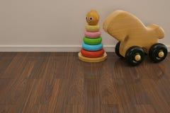Babyspeelgoed op houten vloer 3D illustratie royalty-vrije illustratie