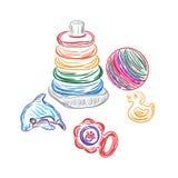 Babyspeelgoed in schetsstijl, vectorillustratie Stock Foto