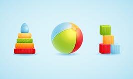 Babystuk speelgoed pictogramreeks Vector-illustratie Stock Afbeeldingen
