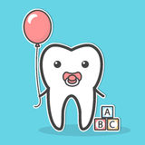 Babytooth with soother and balloon. Stock Images