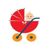 Babywandelwagen met een pop Stock Foto