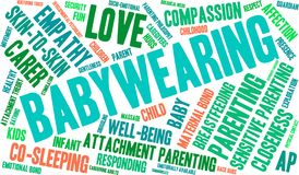 Babywearing Word Cloud. On a white background Royalty Free Stock Photo